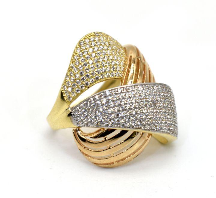 خاتم ذهب باللوني الفضي والذهبي