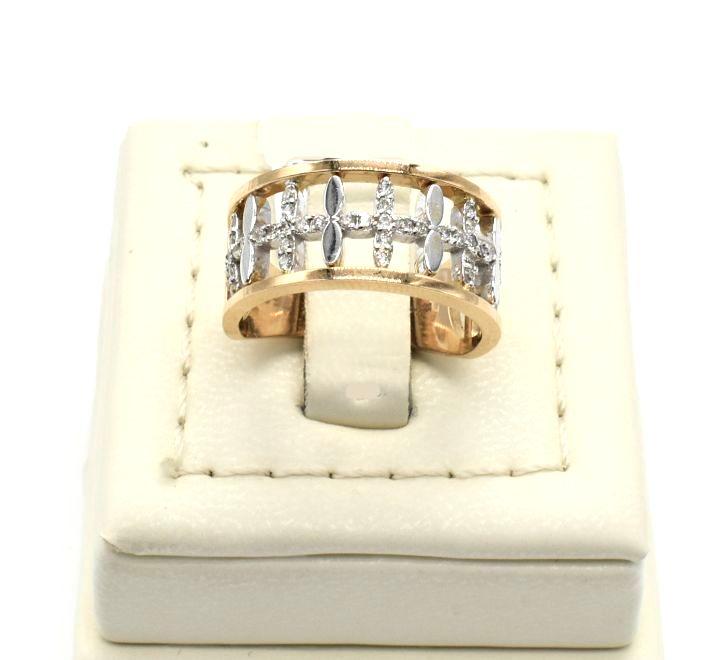 خاتم الماس باللونين الفضي والذهبي